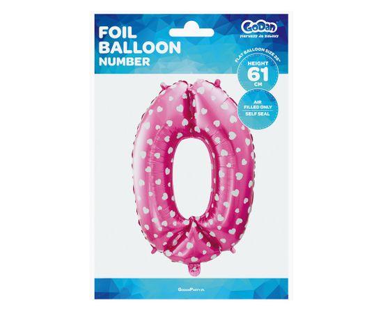 GoDan Folijski balon številka 0 z zvezdami - roza 65 cm