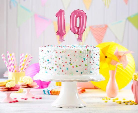 GoDan Balon iz folije številke za na Torto 0 - roza - 13 cm