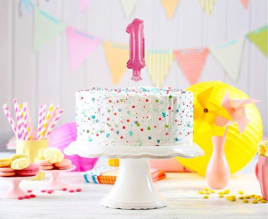 GoDan Fólia számjegyek léggömb a tortán 1 - rózsaszín - 13 cm