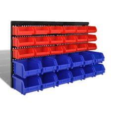 shumee Nástěnné zásobníky do garáže 30 ks sada modré a červené