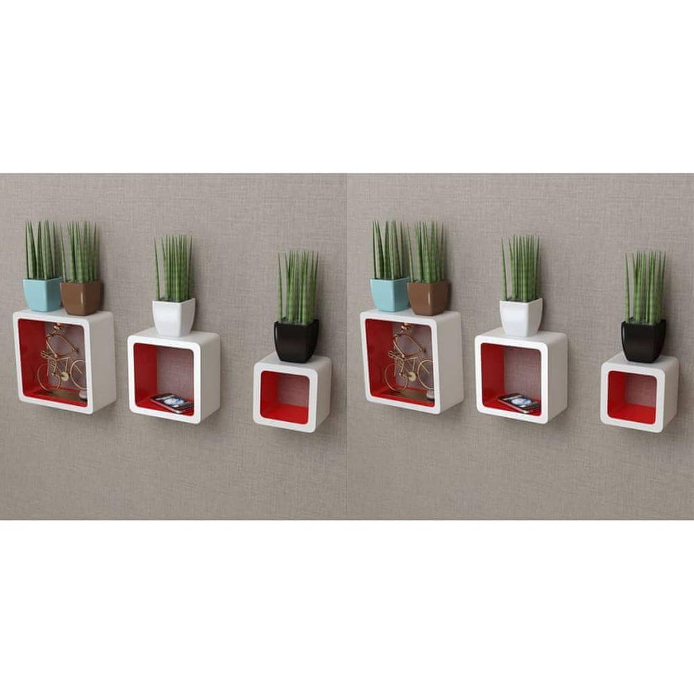 Nástěnné police krychlové 6 ks bílé a červené