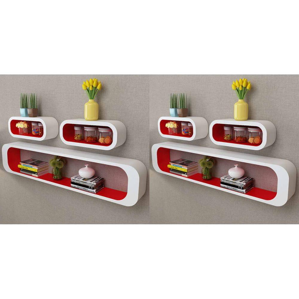 Nástěnné police krychlové 6 ks červené a bílé