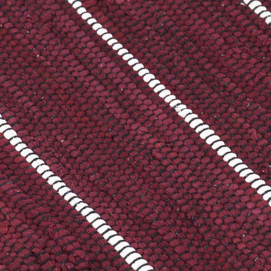 shumee Ročno tkana Chindi preproga iz bombaža 200x290 cm bordo