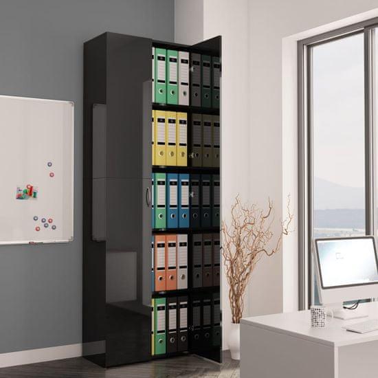 Petromila Kancelářská skříň černá vysoký lesk 60 x 32 x 190 cm dřevotříska