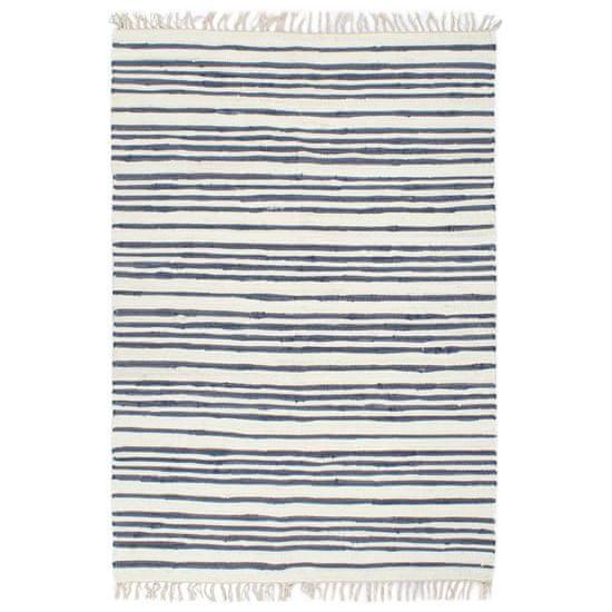 shumee Ročno tkana Chindi preproga bombaž 200x290 cm modra in bela