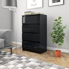 shumee Komoda, lesklá čierna 60x35x98,5 cm, drevotrieska