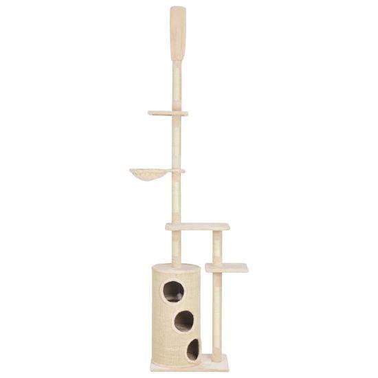 shumee bézsszínű macskabútor szizál kaparófákkal 260 cm