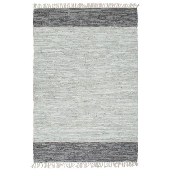 shumee Ročno tkana Chindi preproga iz usnja 190x280 cm siva