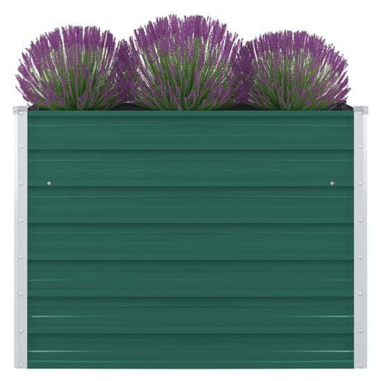 slomart Dvignjeno cvetlično korito 100x100x77 cm pocinkano jeklo zeleno