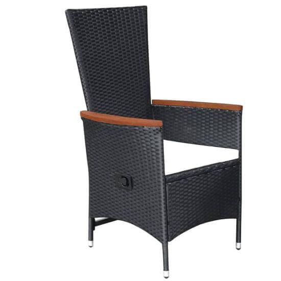 shumee 2 db fekete polyrattan kültéri szék párnával