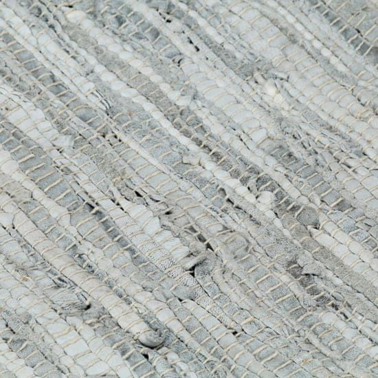 shumee Ročno tkana Chindi preproga iz usnja 80x160 cm siva in rjava