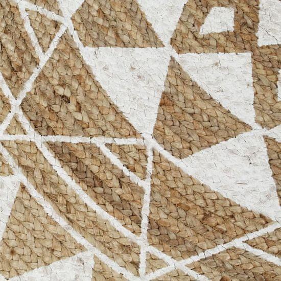 shumee Ręcznie wykonany dywanik, juta, biały nadruk, 150 cm