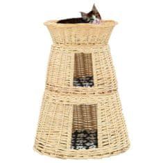 Vidaxl 3dílný pelíšek pro kočky s poduškami 47x34x60 cm přírodní vrba
