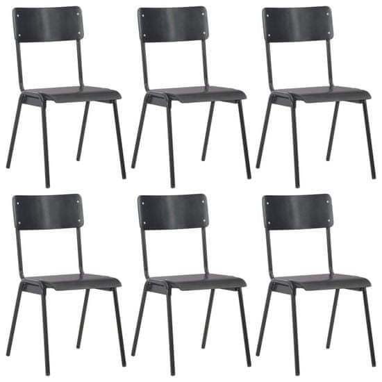 shumee Jedilni stoli 6 kosov črni vezani les