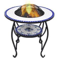 shumee Ognjišče z mizico moder in bel mozaik 68 cm keramika