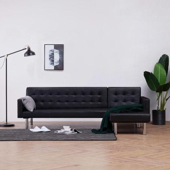 shumee fekete műbőr L-alakú kanapéágy