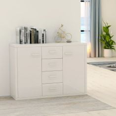 Greatstore Komoda lesklá biela 88x30x65 cm drevotrieska