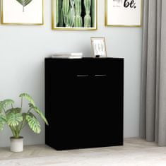 Greatstore Komoda, čierna 60x30x75 cm, drevotrieska
