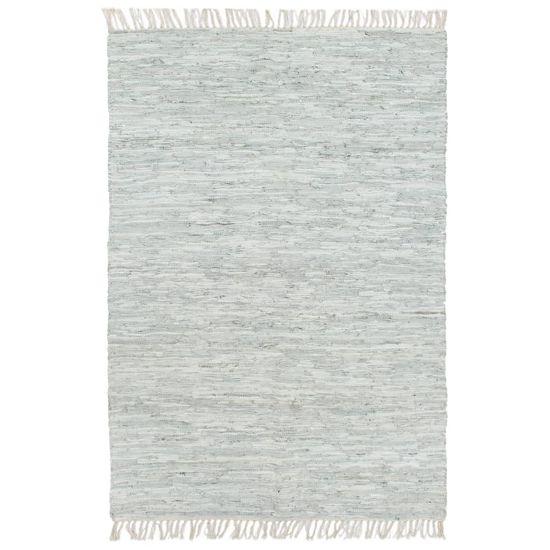 shumee Ročno tkana Chindi preproga iz usnja 120x170 cm svetlo siva