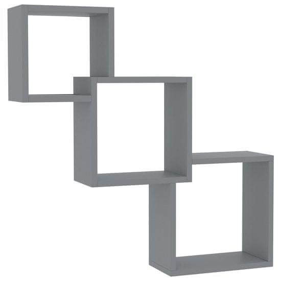shumee Stenske police kocke visok sijaj sive 84,5x15x27 cm