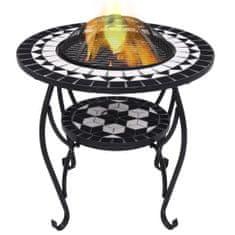 shumee Ognjišče z mizico črn in bel mozaik 68 cm keramika