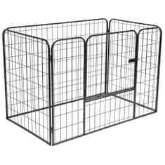 shumee Trpežna pasja ograda črna 120x80x70 cm jeklo