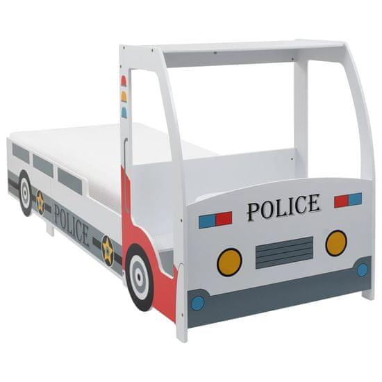 shumee rendőrautó formájú gyerekágy 7 zónás matraccal H2 90 x 200 cm