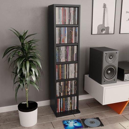 shumee Omarica za CD plošče črna 21x20x88 cm iverna plošča