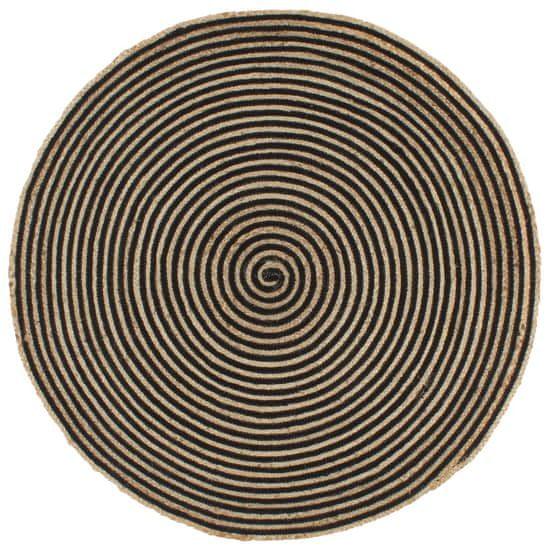 shumee Dywanik ręcznie wykonany z juty, spiralny wzór, czarny, 150 cm