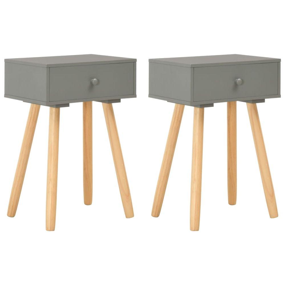 Vidaxl Noční stolek 2 ks šedý masivní borové dřevo