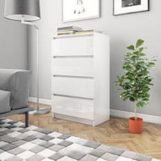 Greatstore Komoda, lesklá biela 60x35x98,5 cm, drevotrieska