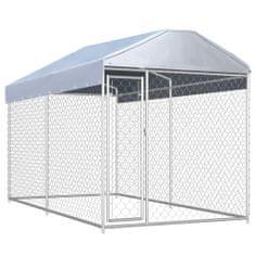 shumee Zunanji pasji boks s platneno streho 382x192x225 cm