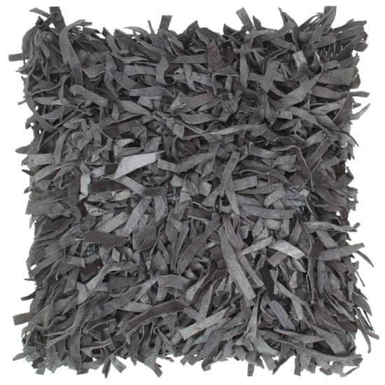 shumee Blazine 2 kosa kosmate sive 45x45 cm usnje in bombaž