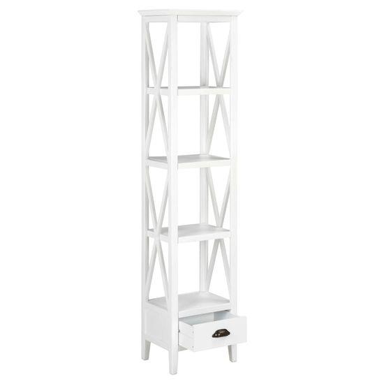 shumee Biblioteczka z 1 szufladą, biała, 40 x 30 x 170 cm, MDF