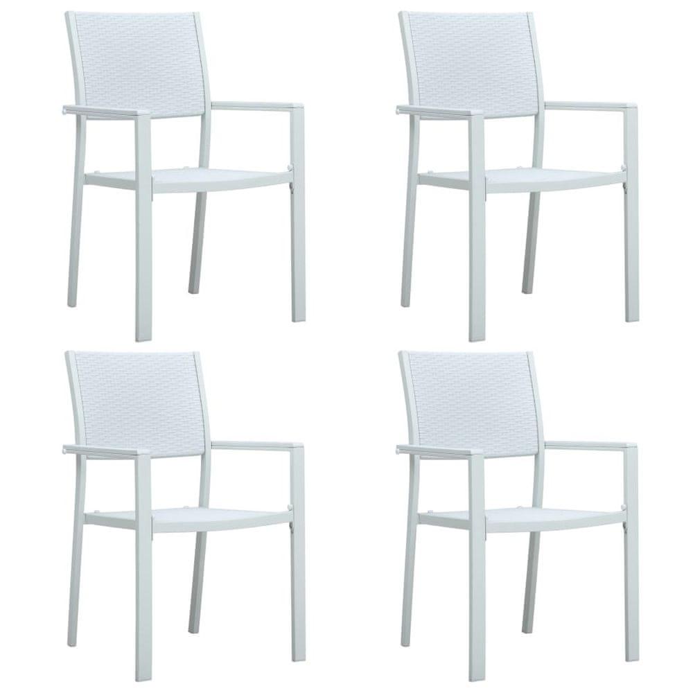Zahradní židle 4 ks bílé plast ratanový vzhled