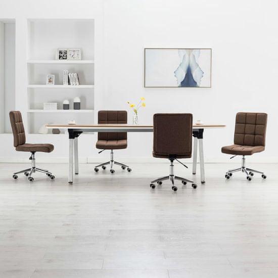shumee Krzesła stołowe, 4 szt., brązowe, tapicerowane tkaniną