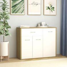 Greatstore Komoda, biela a dub sonoma 88x30x70 cm, drevotrieska