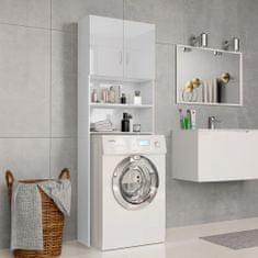 shumee Skříňka nad pračku bílá vysoký lesk 64x25,5x190 cm dřevotříska