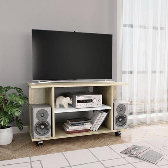 shumee fehér-sonoma tölgy forgácslap TV-szekrény görgőkkel 80x40x40 cm