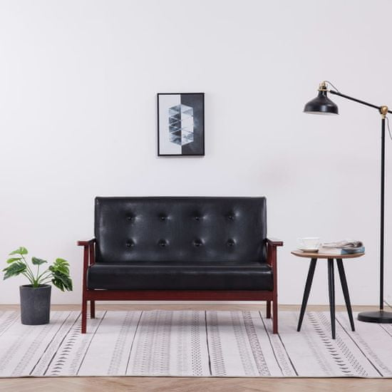 shumee 2-osobowa sofa, czarna, sztuczna skóra