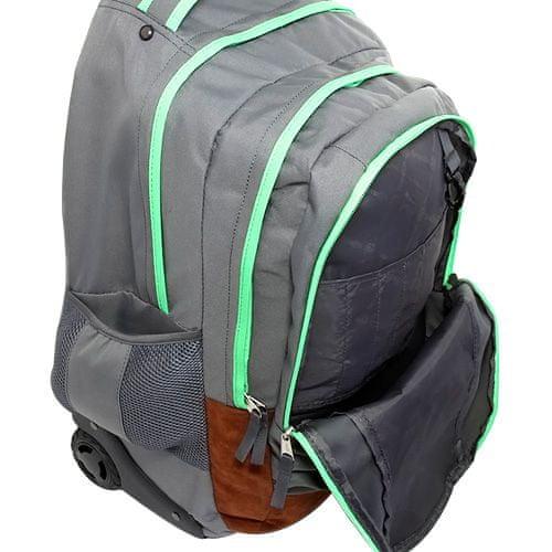 Smash Šolski nahrbtnik voziček , temno zelena obložena z neonsko zeleno