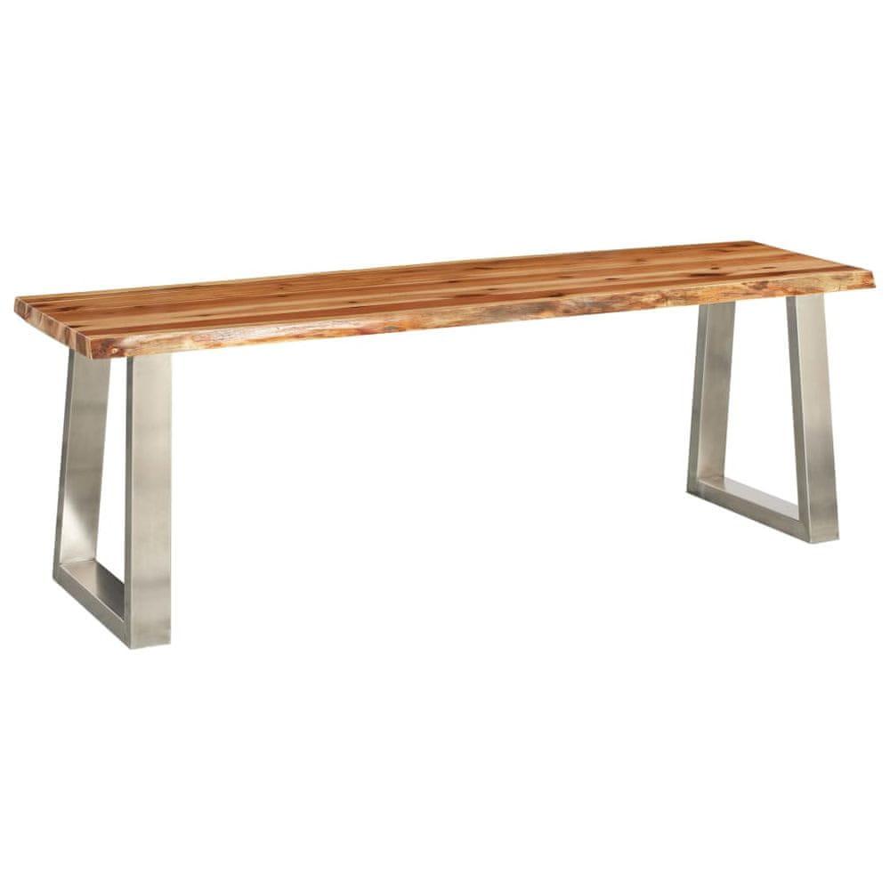 Lavice 140 cm masivní akáciové dřevo a nerezová ocel