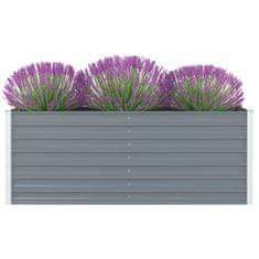 shumee Dvignjeno cvetlično korito 160x80x45cm pocinkano jeklo sivo