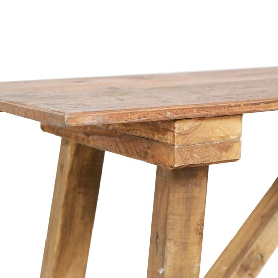 Greatstore Konzolna mizica 130x40x80 cm trden predelan les