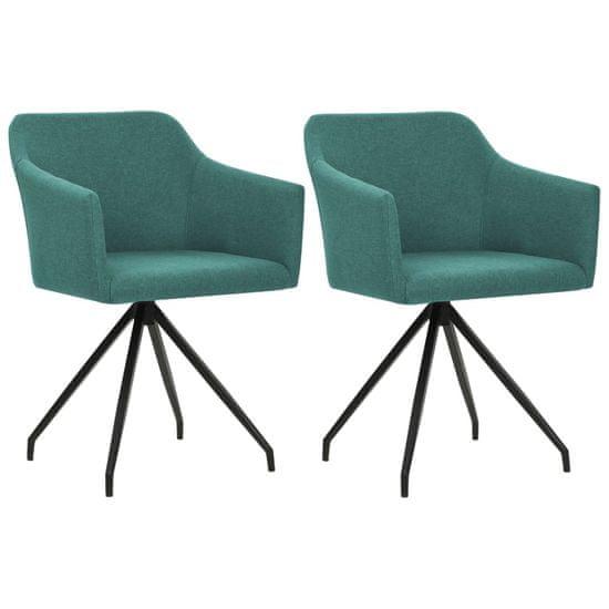 shumee Vrtljivi jedilni stoli 2 kosa zeleno blago