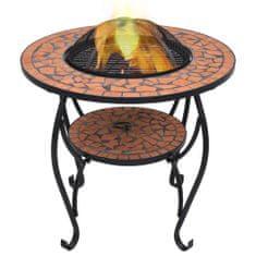shumee Ognjišče z mizico terakota mozaik 68 cm keramika
