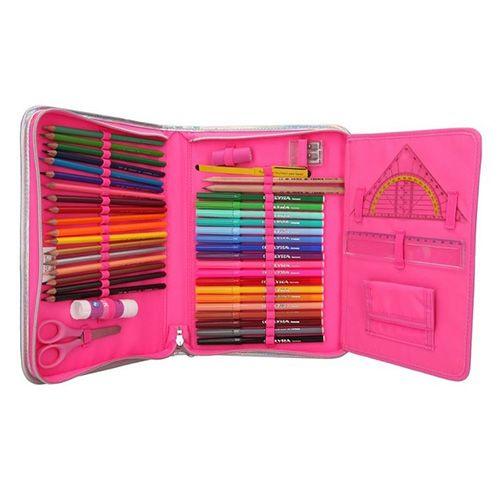 Miss Melody Nagy ceruza tok felszereléssel, , változó flitterekkel, rózsaszín