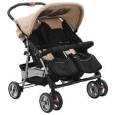 Greatstore Dvojni otroški voziček jeklen taupe in črn