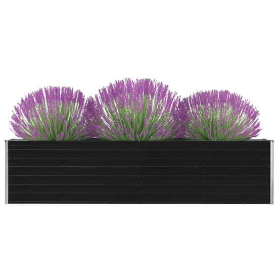 shumee Dvignjeno cvetlično korito 320x40x77cm pocinkano jeklo antracit
