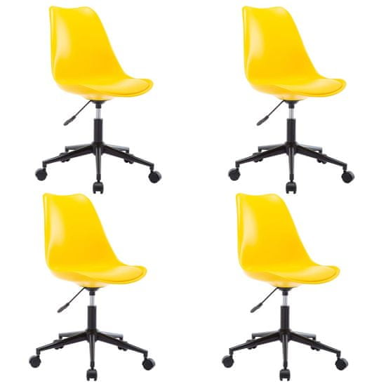 slomart Vrtljivi jedilni stoli 4 kosi umetno usnje rumene barve